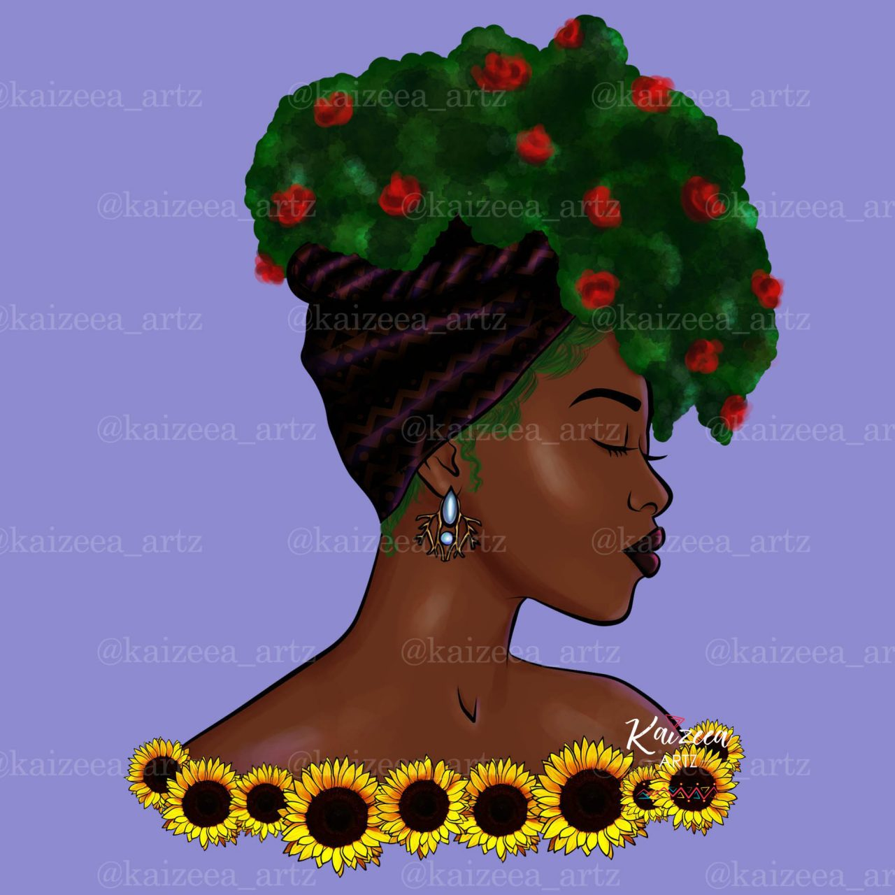 Kaizeeartz Kaizeea Artz art illustrator illustratrice art illustrate illustration digital art art numerique Mother Nature Mère Nature Headwrap Mawe Tet Girasol Sunflower Tournesol Fler Soleil Ariste Mauricienne Morisien Mauritius Ile Maurice Mauritius Mauritius Island Mauritian Artist Hair Afro Afro Hair Hairstyle 4C hair salonde coiffure rose flower botanist botanical