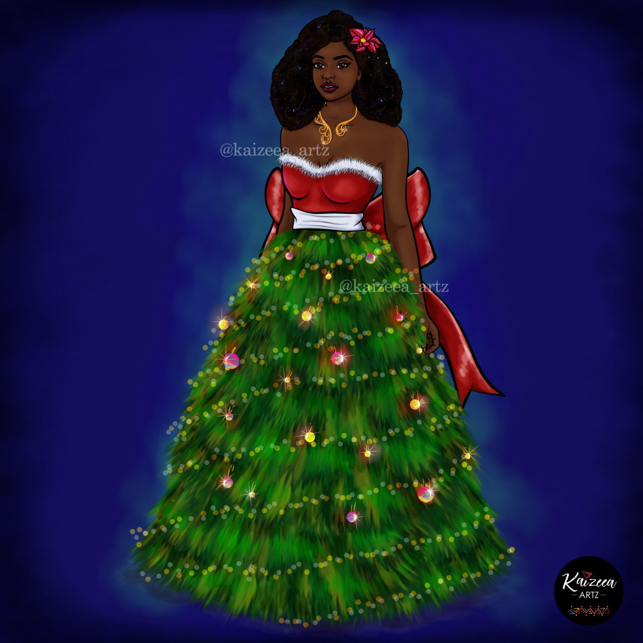 kaizeea artz kaizeeartz mauritian black girl magic mauricienne ile maurice mauritius artiste artist illustration art illustration art digital art art numerique art digitale beauty beauté drawing black art nubiammancy essentiel best afroart afro art art africaine dreamer sapin christmas tree pinecone pinetree black art support blackart art 2020 jingle bell girls who illustrate characters dope art guirlande booule de noel lumiere santa mere noel pere noel ladies who illustrate afro hair afro hair style hairstylist fashion stylist fashion mode
