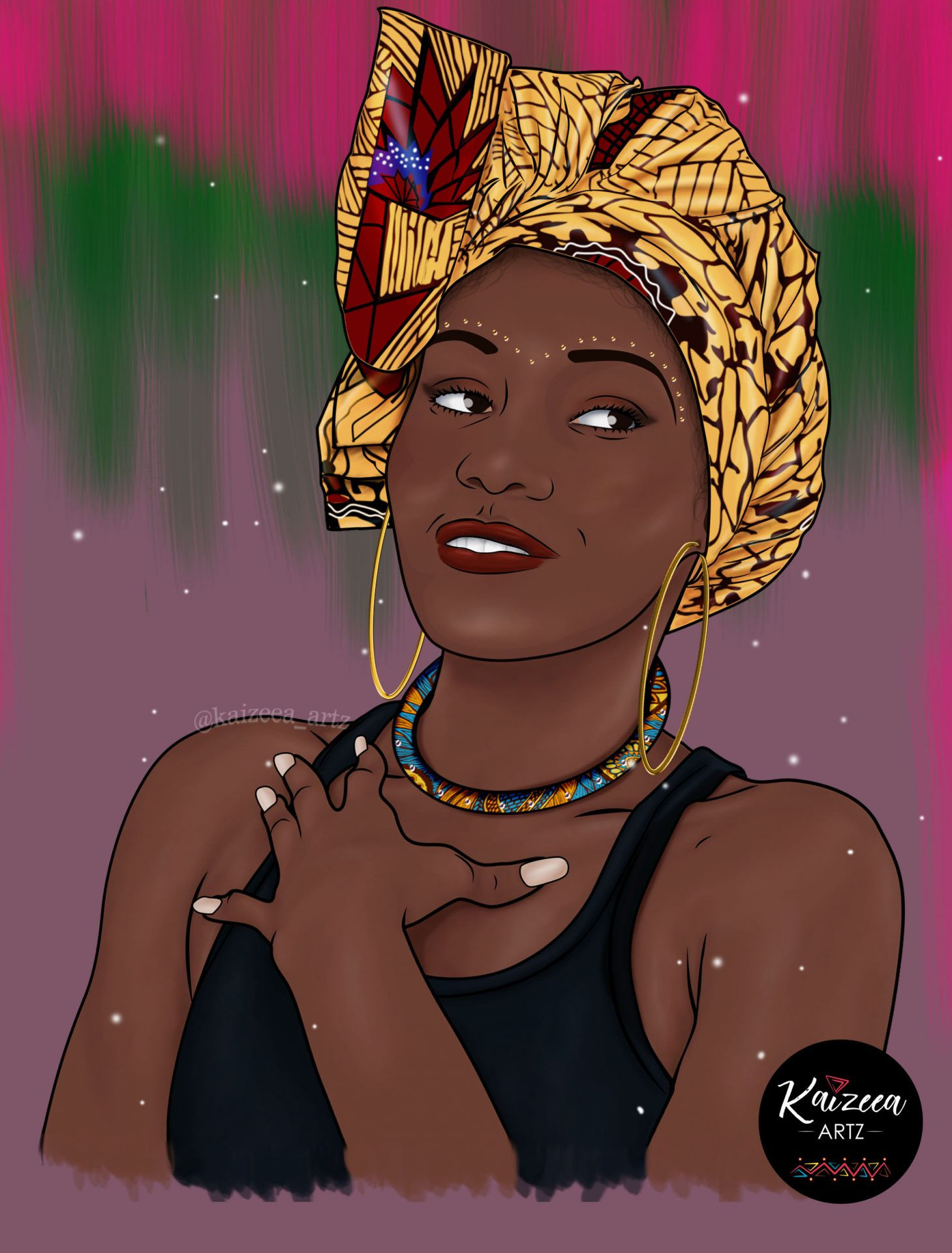 africanprint headwrap mauritius mauritianartist cartoonillustration blackartists africanjewelry tribal headwrap turban maretet