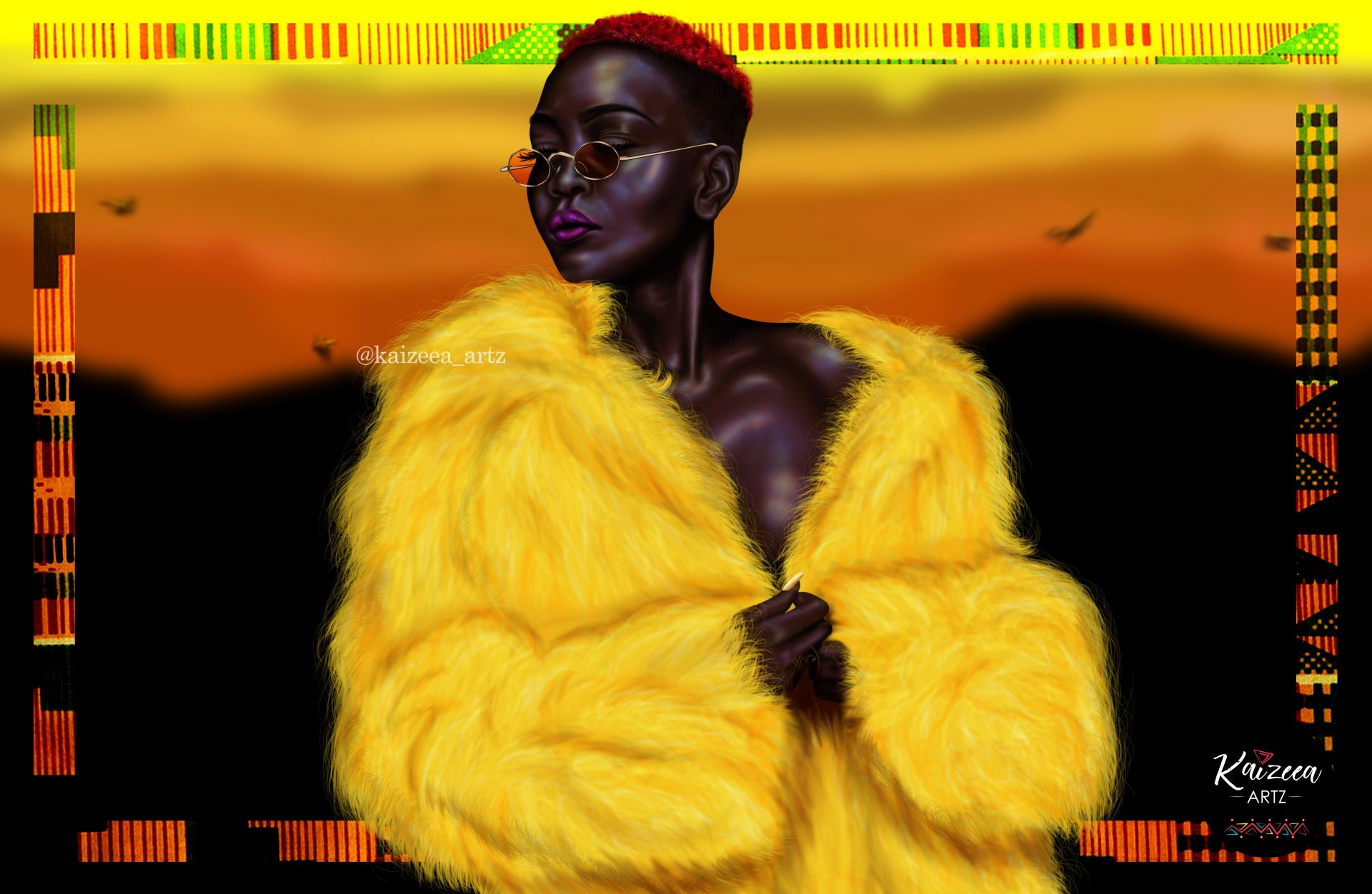 blacklivesmatter art yellow fur art kaizeeartz mauritian artist