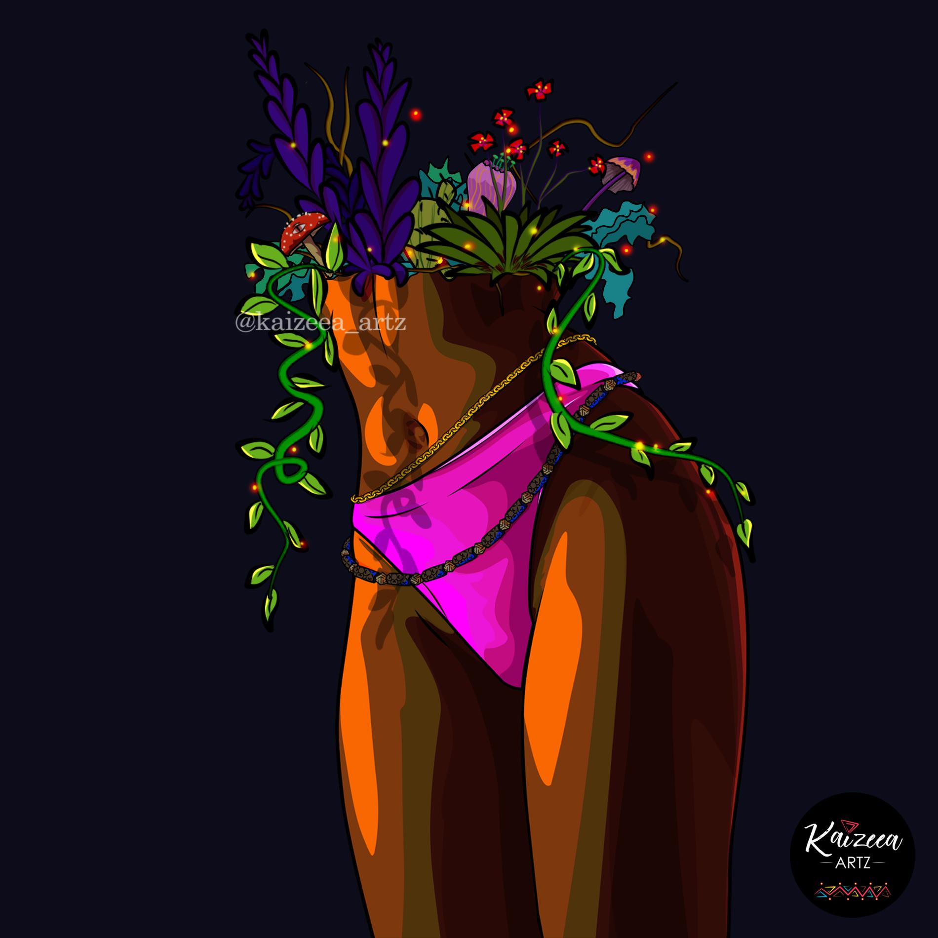 kaizeea kaizeea artz mauricienne artiste ile maurice visual art african art flower fleur bio botanique plant succulent liane garden sexy underwear art cartoon art beads waist beads healing