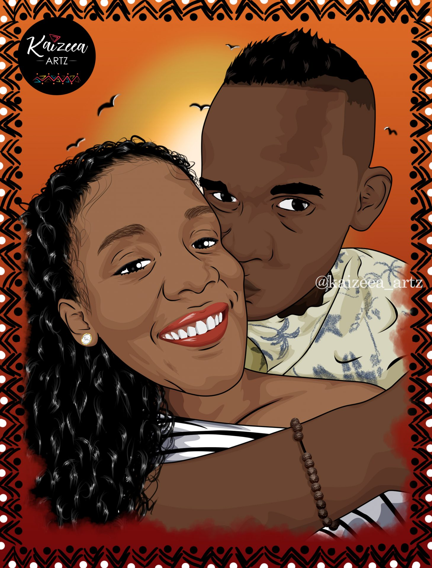kaizeea artz art artist artista lartiste black art lar nwar black queen mauritius mauritian mauricenne ile maurice africa afrique pattern motifs couple couple goal afro art afriart artiste africaine