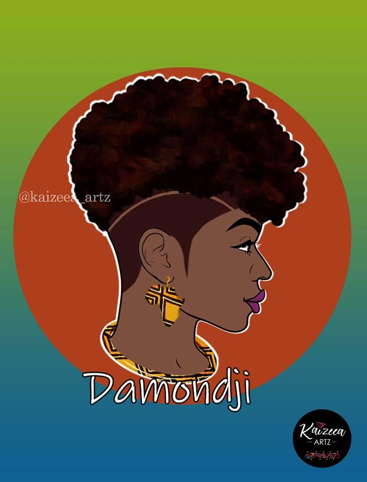 damondji wax print kaizeea artz mauritius artist femme artiste maurice ile afique africa TWA salon de coiffurre hairstylist
