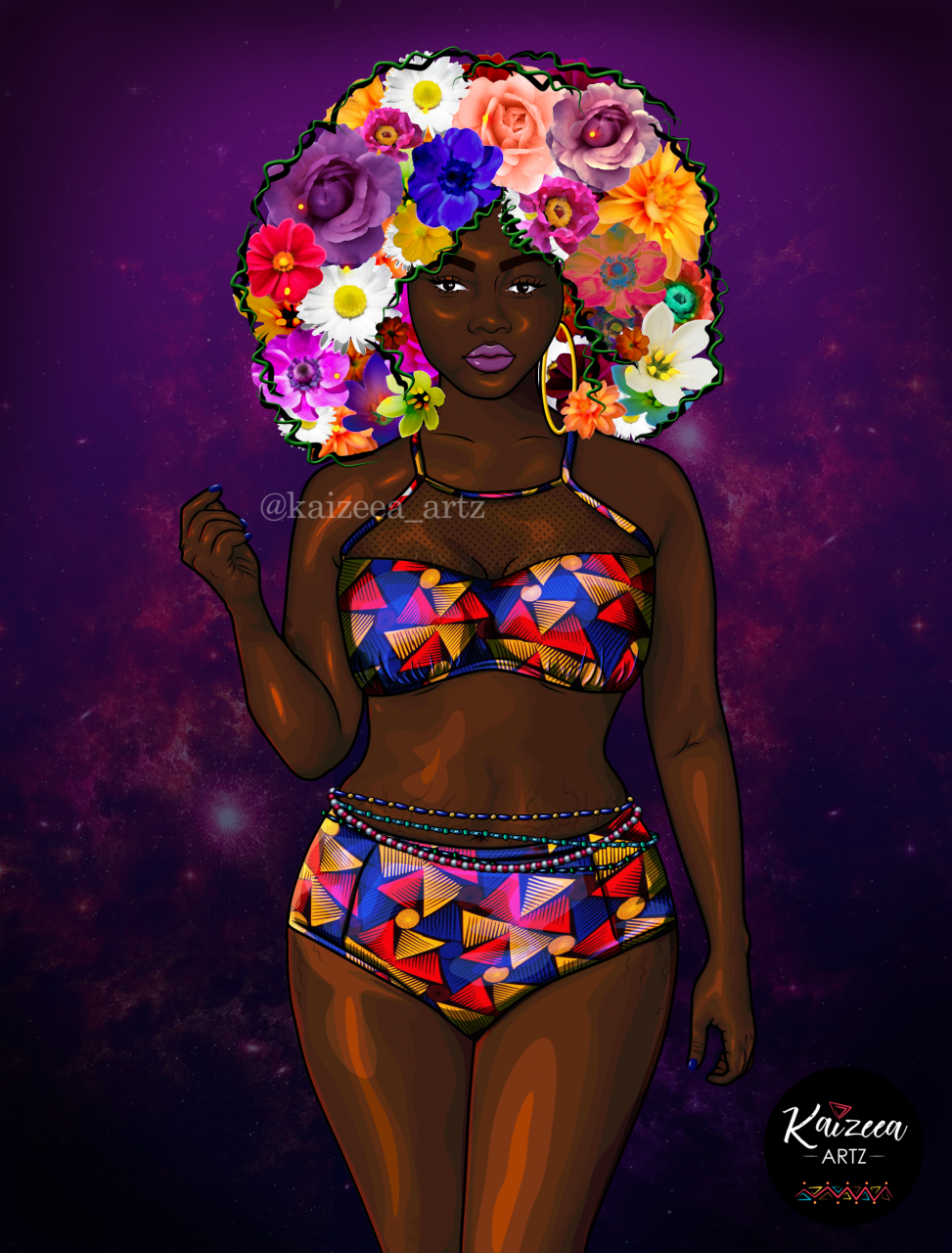 kaizeea artz art artist artiste creator mauritius ile maurice blackart african art afro african digital art cartoon art realistic art realisme curvy girl chubby curvy big girl black girl magic afro entrepreneur femme flower art wax print bikini swimwear art waist beads art waistbeadscartoon