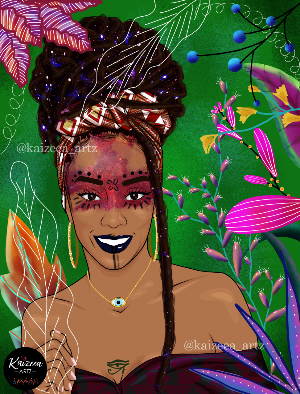 Kaizeea kaizeea artz morisien mauritian artist artiste mauricienne digital art lart digitale digital painting afro art mauritius island visual art plaine magnien south kaizeeartz.org black artist artiste africaine black entrepreneur instagram art facebook art lar african art lar africain lart noir melanie kaizeea artz illustration bikini cartoon art waist beads ileke idi colier de hanches yoruba blackfemale culture wombman top black art top african art dope black art pinterest curvy chubby art swimwear jewelry rose flower pink sparks sparkles lace stretch marks art scratch Amazon amazone hippie tribe boho bohemian art locs dread locs rasta headwrap turban wax print mawe tet dessin universe tribe makeup stars eye third eye 3rd eye chakra nature birthmarks plant jungle forest plante medicinal herb baie swirl leaf feuille illustration vert bijoux oeil ina dessin