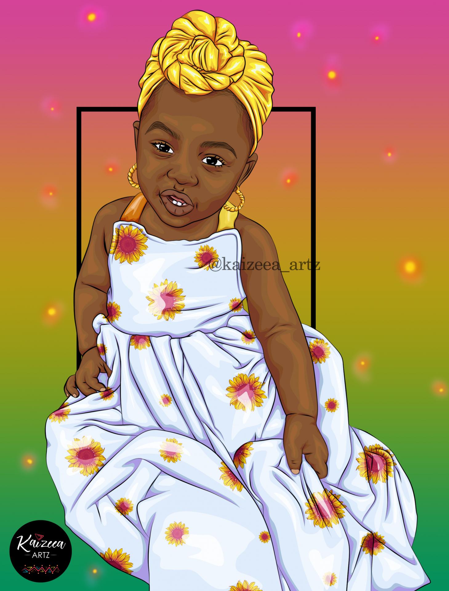 Kaizeea artz headwrap afro kids earrings dress sunflower girasol tournesol robe cutie bébé african baby conscious generation mawé tet turban heawrap styles melanin popping black girl magic mauritius africa best black art top blacl art