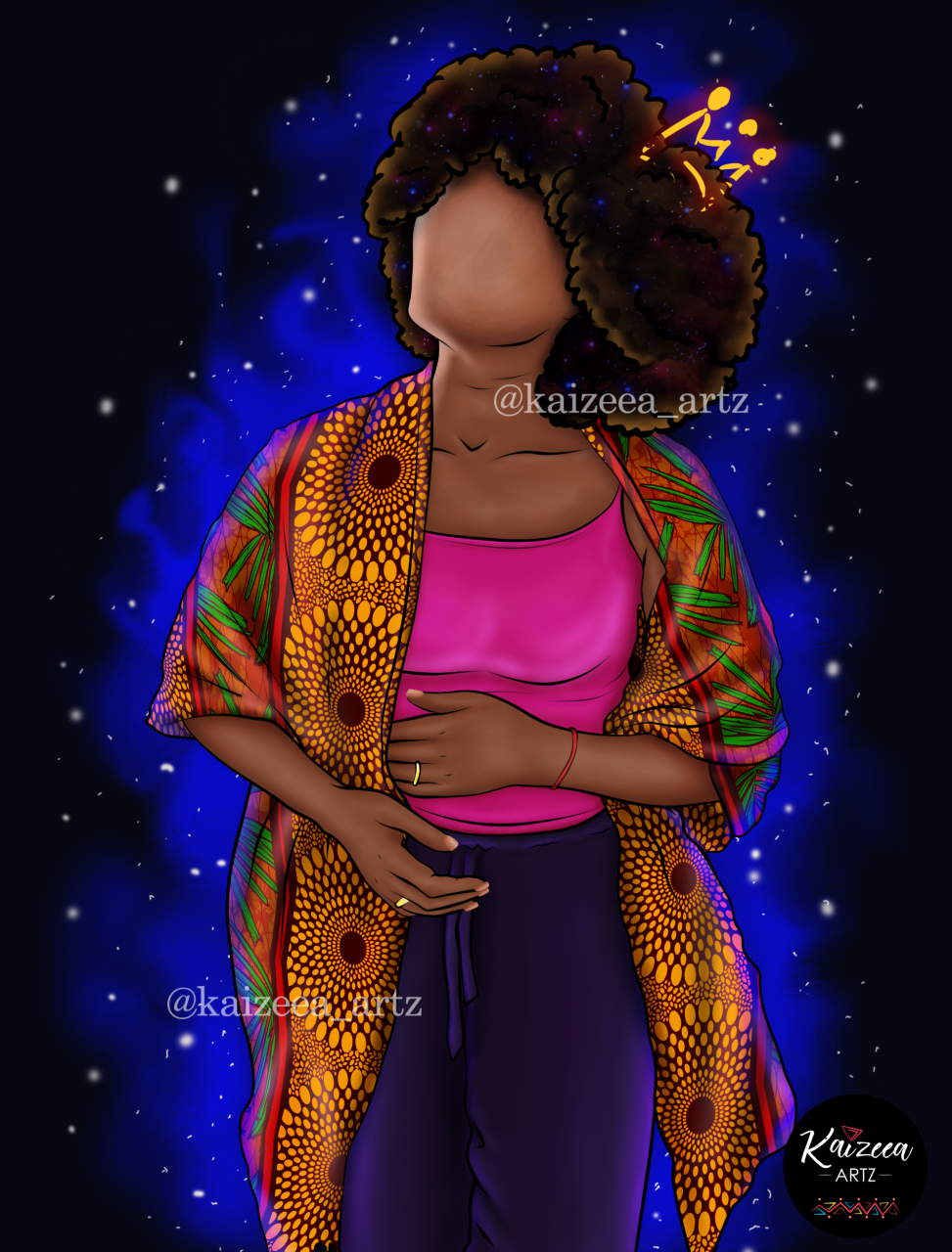 Black girl magic kimono fashion african wax pagne pagne africain motifs wax impression wax france guadeloupe afrique maurice tropicale fuschia rose pink pants baggy hippie lueur univers mystique mistic universe magic magique afro girl puff afro puff cheveux tignasse chevelure tree arbre racine etoiles poussiere stars blue best artist digital art Kaizeea artz kaizeea art artist artiste mauricienne mauritius digital art digital artist art numerique lart art ile black art best black artist best black art top best black artist top african art black girl magic black woman african art drawing black is beautiful blackqueen melanin afroart afriart art life painter artist artist on instagram dope black art headwrap rasta alien spiritual locs locs style woman with locs dreadlocks locs locsé tribal make up maquillage afrique